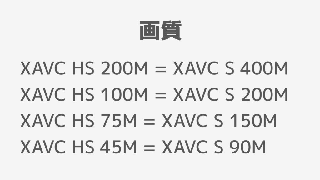 XAVC HS XAVC S 画質
